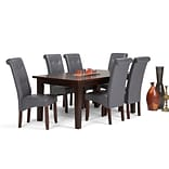 Simpli Home Cosmopolitan 7 piece Dining Set in Stone Grey Faux Leather (AXCDS7-COS-G)