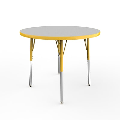 ECR4Kids Thermo-Fused Adjustable Swivel 36 Round Laminate Activity Table Grey/Yellow (ELR-14214-GYYEYESS)