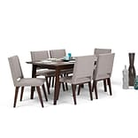 Simpli Home Draper Mid Century 7 piece Dining Set in Grey Linen Look Fabric (AXCDS7DRP-G)