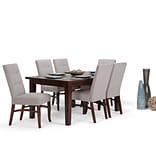 Simpli Home Ezra 7 piece Dining Set in Cloud Grey Linen Look Fabric (AXCDS7EZ-CLG)