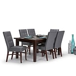 Simpli Home Ezra 7 piece Dining Set in Stone Grey Faux Leather (AXCDS7EZ-G)