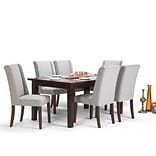 Simpli Home Sotherby 7 piece Dining Set in Cloud Grey Linen Look Fabric (AXCDS7SB-CLG)