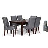 Simpli Home Sotherby 7 piece Dining Set in Stone Grey Faux Leather (AXCDS7SB-G)