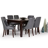 Simpli Home Walden 7 piece Dining Set in Stone Grey Faux Leather (AXCDS7WA-STG)
