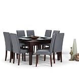 Simpli Home Acadian 9 piece Dining Set in Stone Grey Faux Leather (AXCDS9-ACA-G)