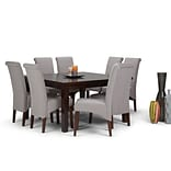 Simpli Home Avalon 9 piece Dining Set in Cloud Grey Linen Look Fabric (AXCDS9-AVL-CLG)