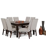 Simpli Home Ezra 9 piece Dining Set in Cloud Grey Linen Look Fabric (AXCDS9EZ-CLG)