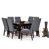 Simpli Home Ezra 9 piece Dining Set in Stone Grey Faux Leather (AXCDS9EZ-G)