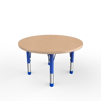 ECR4Kids Thermo-Fused Adjustable 36 Round Laminate Activity Table Maple/Maple/Blue (ELR-14214-MPMPBLCH)