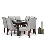 Simpli Home Sotherby 9 piece Dining Set in Cloud Grey Linen Look Fabric (AXCDS9SB-CLG)