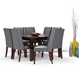Simpli Home Sotherby 9 piece Dining Set in Stone Grey Faux Leather (AXCDS9SB-G)