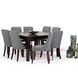 Simpli Home Walden 9 piece Dining Set in Slate Grey Linen Look Fabric (AXCDS9WA-SGL)