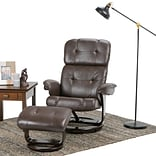 Simpli Home Merrin Air Faux Leather Euro Recliner in Brown (AXCEUREC-03)