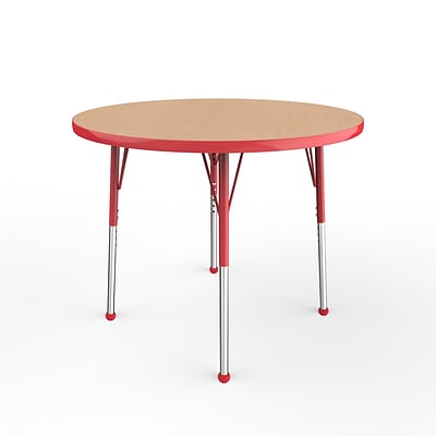 ECR4Kids Thermo-Fused Adjustable Ball 36 Round Laminate Activity Table Maple/Red (ELR-14214-MPRDRDSB)