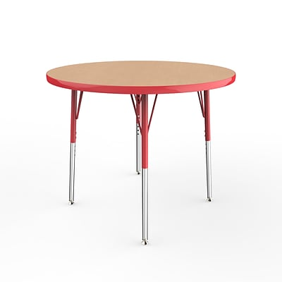 ECR4Kids Thermo-Fused Adjustable Swivel 36 Round Laminate Activity Table Maple/Red (ELR-14214-MPRDRDSS)
