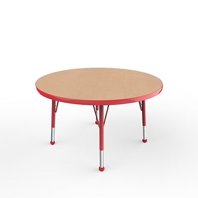 ECR4Kids Thermo-Fused Adjustable Ball 36 Round Laminate Activity Table Maple/Red (ELR-14214-MPRDRDTB)