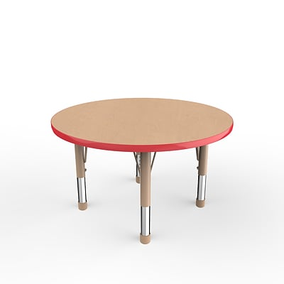 ECR4Kids Thermo-Fused Adjustable 36 Round Laminate Activity Table Maple/Red/Sand (ELR-14214-MPRDSDCH)