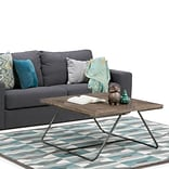 Simpli Home Hailey 34 inch Square Coffee Table in Distressed Java Brown Wood Inlay (AXCHLY-05)