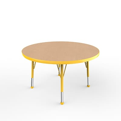 ECR4Kids Thermo-Fused Adjustable Ball 36 Round Laminate Activity Table Maple/Yellow (ELR-14214-MPYEYETB)