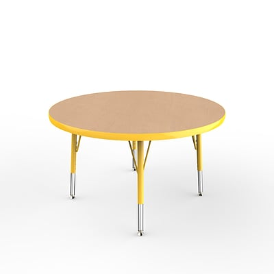 ECR4Kids Thermo-Fused Adjustable Swivel 36 Round Laminate Activity Table Maple/Yellow (ELR-14214-MPYEYETS)