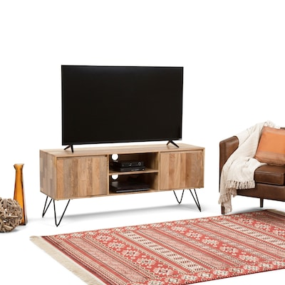 Simpli Home Hunter 60 X 18 Inch Tv Media Stand In Natural Mango Wood For Tvs Up To 66 Inches (axchun 08)
