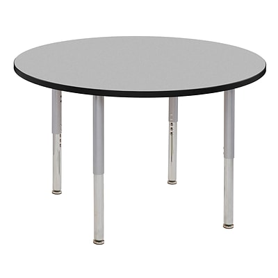 ECR4Kids Thermo-Fused Adjustable Leg 48 Round Laminate Activity Table Grey/Black/Silver (ELR-14215-GYBKSVSL)