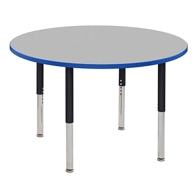 ECR4Kids Thermo-Fused Adjustable Leg 48 Round Laminate Activity Table Grey/Blue/Black (ELR-14215-GYBLBKSL)