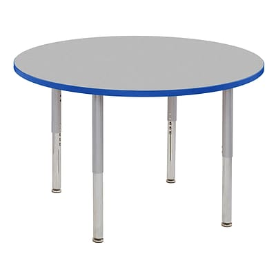 ECR4Kids Thermo-Fused Adjustable Leg 48 Round Laminate Activity Table Grey/Blue/Silver (ELR-14215-GYBLSVSL)