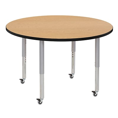 ECR4Kids Thermo-Fused Adjustable Leg 48 Round Laminate Activity Table Oak/Black/Silver (ELR-14215-OKBKSVSL)