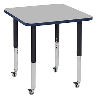 ECR4Kids T-Mold Adjustable Leg 30 Square Laminate Activity Table Grey/Navy/Black (ELR-14116-GNVBK-S