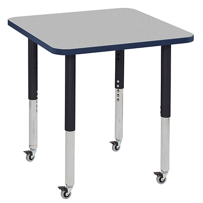 ECR4Kids T-Mold Adjustable Leg 30 Square Laminate Activity Table Grey/Navy/Black (ELR-14116-GNVBK-SL)