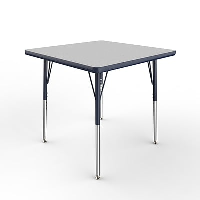 ECR4Kids Thermo-Fused Adjustable Swivel 30 Square Laminate Activity Table Grey/Navy (ELR-14216-GYNVNVSS)