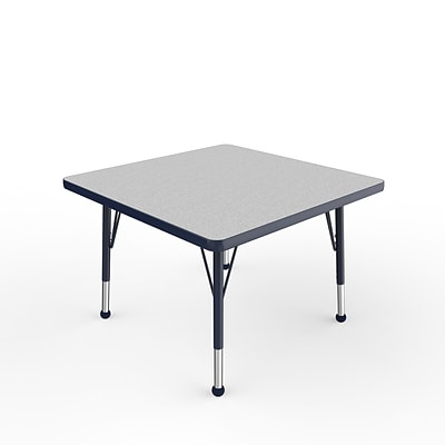 ECR4Kids Thermo-Fused Adjustable Ball 30 Square Laminate Activity Table Grey/Navy (ELR-14216-GYNVNVTB)