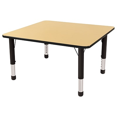 ECR4Kids Thermo-Fused Adjustable 30 Square Laminate Activity Table Maple/Black (ELR-14216-MPBKBKCH)