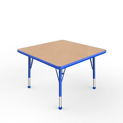 ECR4Kids Thermo-Fused Adjustable Ball 30 Square Laminate Activity Table Maple/Blue (ELR-14216-MPBLBLTB)