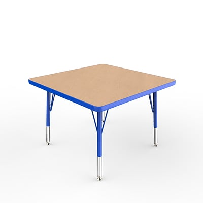 ECR4Kids Thermo-Fused Adjustable Swivel 30 Square Laminate Activity Table Maple/Blue (ELR-14216-MPBLBLTS)