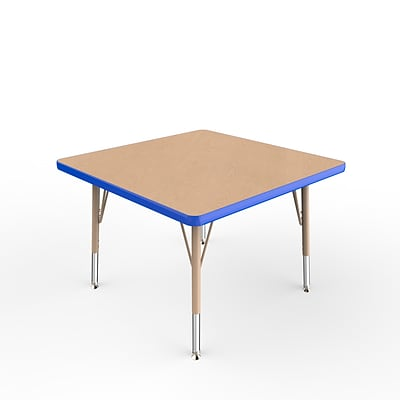 ECR4Kids Thermo-Fused Adjustable Swivel 30 Square Laminate Activity Table Maple/Blue/Sand (ELR-14216-MPBLSDTS)