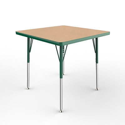 ECR4Kids Thermo-Fused Adjustable Ball 30 Square Laminate Activity Table Maple/Green (ELR-14216-MPGNGNSB)