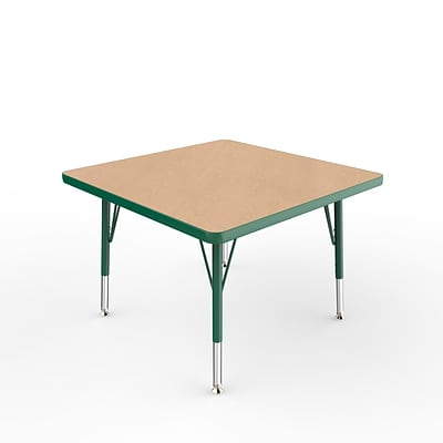 ECR4Kids Thermo-Fused Adjustable Swivel 30 Square Laminate Activity Table Maple/Green (ELR-14216-MPGNGNSS)