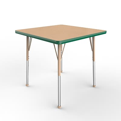 ECR4Kids Thermo-Fused Adjustable Ball 30 Square Laminate Activity Table Maple/Green/Sand (ELR-14216-MPGNSDSB)