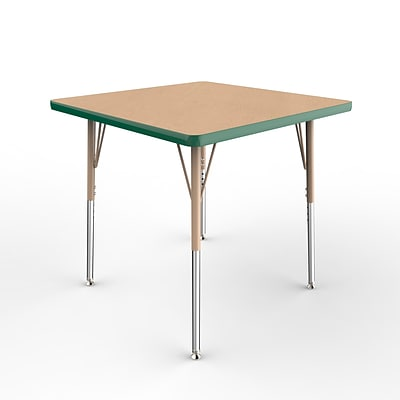 ECR4Kids Thermo-Fused Adjustable Swivel 30 Square Laminate Activity Table Maple/Green/Sand (ELR-14216-MPGNSDSS)