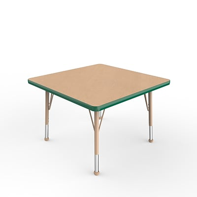ECR4Kids Thermo-Fused Adjustable Ball 30 Square Laminate Activity Table Maple/Green/Sand (ELR-14216-MPGNSDTB)