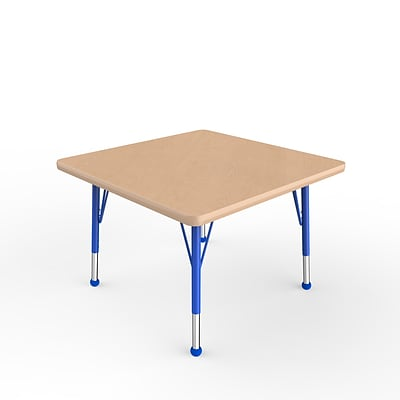 ECR4Kids Thermo-Fused Adjustable Ball 30 Square Laminate Activity Table Maple/Maple/Blue (ELR-14216-MPMPBLTB)