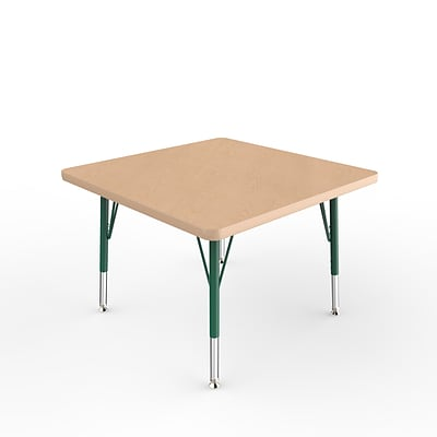 ECR4Kids Thermo-Fused Adjustable Swivel 30 Square Laminate Activity Table Maple/Maple/Green (ELR-14216-MPMPGNTS)