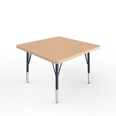 ECR4Kids Thermo-Fused Adjustable Swivel 30 Square Laminate Activity Table Maple/Maple/Navy (ELR-14216-MPMPNVTS)