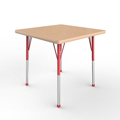 ECR4Kids Thermo-Fused Adjustable Ball 30 Square Laminate Activity Table Maple/Maple/Red (ELR-14216-MPMPRDSB)