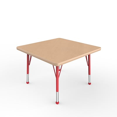 ECR4Kids Thermo-Fused Adjustable Ball 30 Square Laminate Activity Table Maple/Maple/Red (ELR-14216-MPMPRDTB)