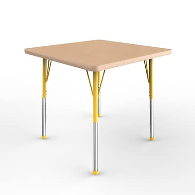 ECR4Kids Thermo-Fused Adjustable Ball 30 Square Laminate Activity Table Maple/Maple/Yellow (ELR-14216-MPMPYESB)