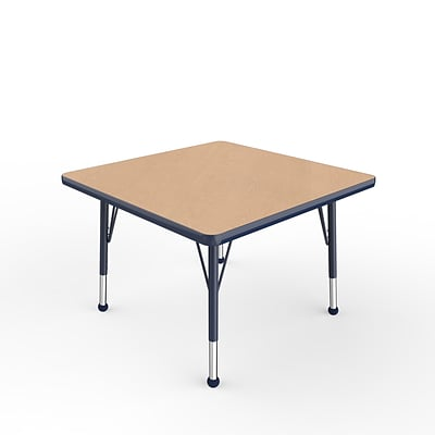 ECR4Kids Thermo-Fused Adjustable Ball 30 Square Laminate Activity Table Maple/Navy (ELR-14216-MPNVNVTB)