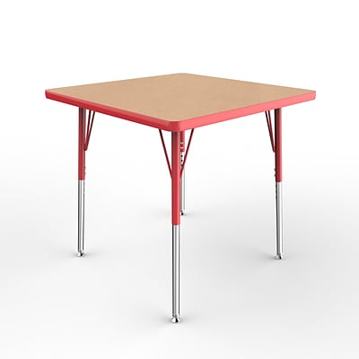 ECR4Kids Thermo-Fused Adjustable Swivel 30 Square Laminate Activity Table Maple/Red (ELR-14216-MPRDRDSS)